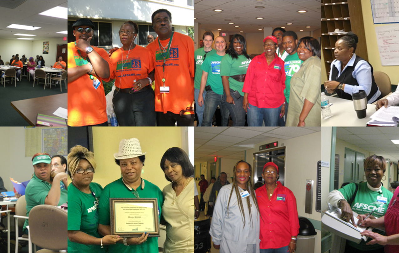 Grid of photos of members of AFSCME Local 1363 organizing