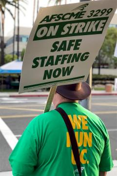 "UC worker with back to the camera wearing a green shirt that reads, ""We Run UC"" and a sign, ""AFSCME 3299 On Strike. Safe Staffing Now."""